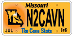 "Missouri ""The Cave State"" License Plate"